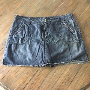 Lane Bryant size 24 denim frayed bottom jean skort